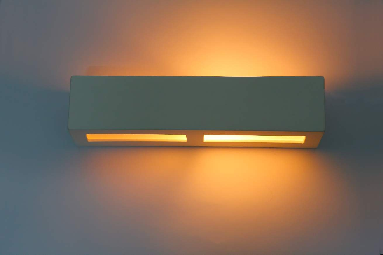 Quadrato cm bianco ceramica applique da parete lampada