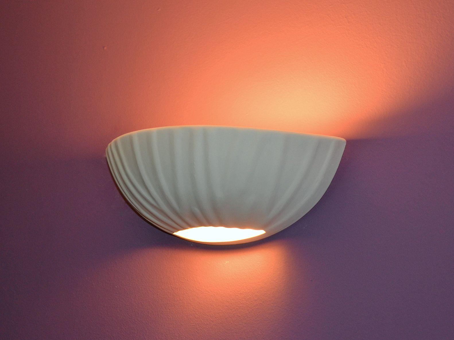 Applique da parete lampada ceramica gesso anna per led bianco