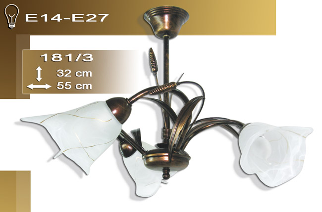 neuf plafonnier suspension 3 flammes haut luminaire lampe pi de bl 181 3 ebay. Black Bedroom Furniture Sets. Home Design Ideas